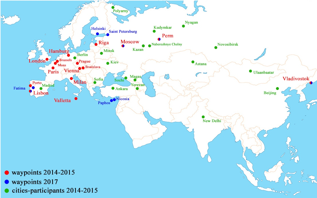 Карта с точками маршрута и заочными участниками-обрезаная- НА АНГЛ
